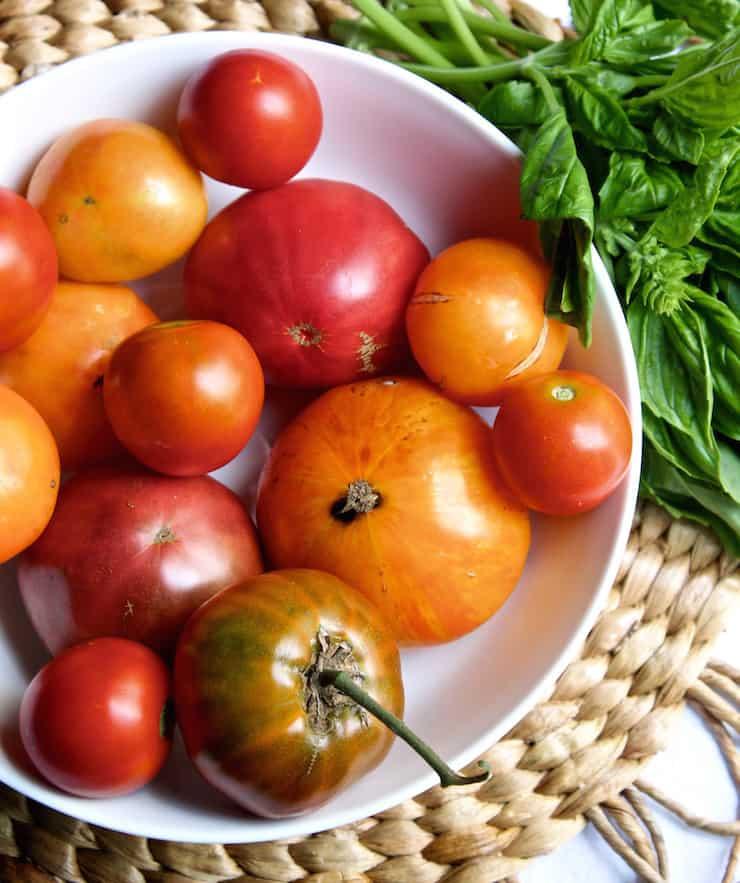 Bowl of summer heirloom tomatoes