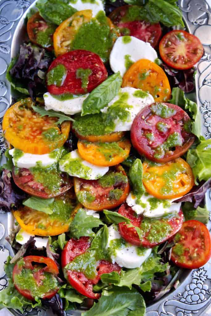 Insalata Caprese with Basil Vinaigrette