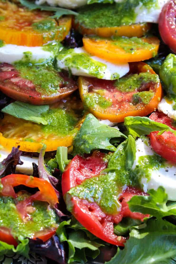 Caprese salad on platter.