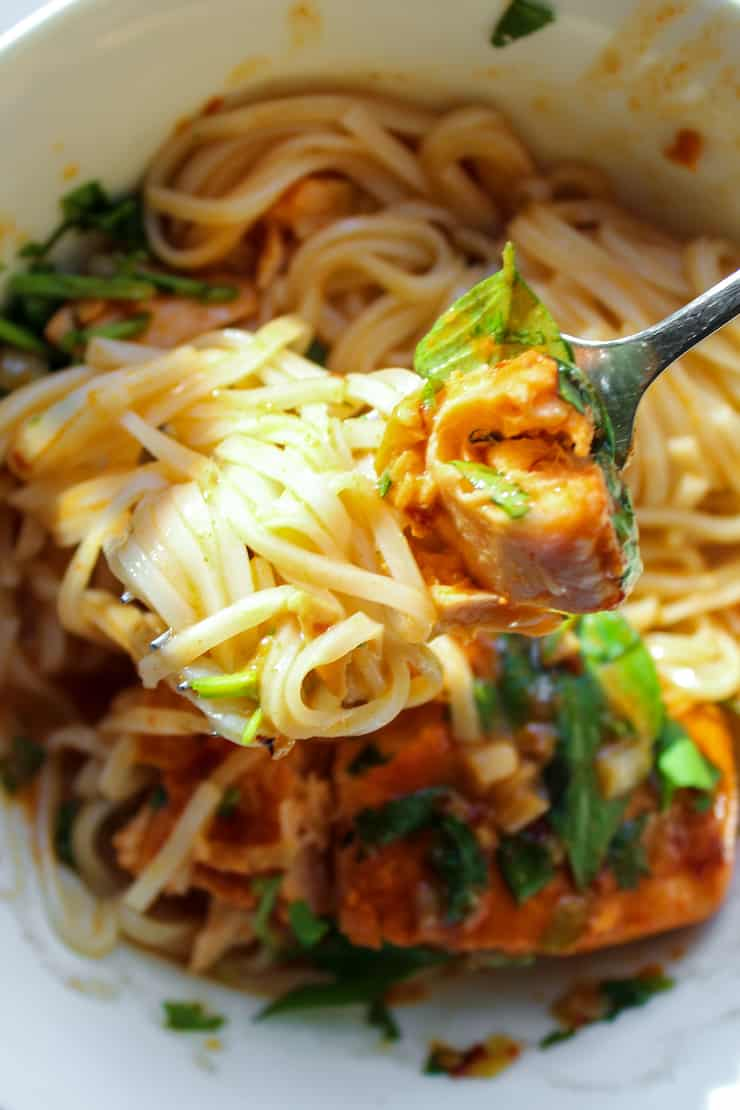 Salmon and noodles twirled on fork.