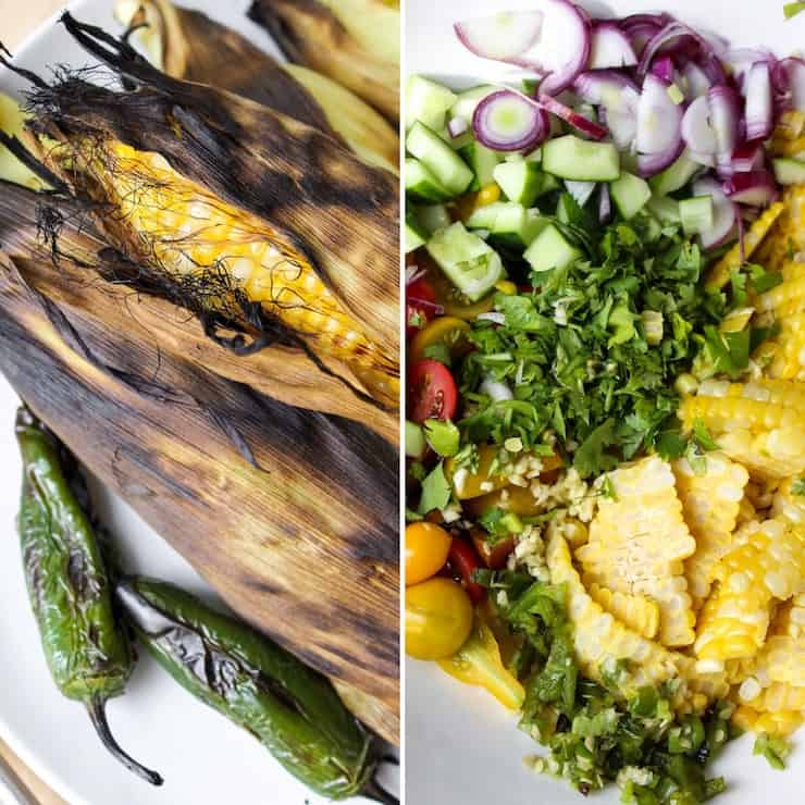 Two photo collage, chargrilled corn and salad ingredients in bowl.
