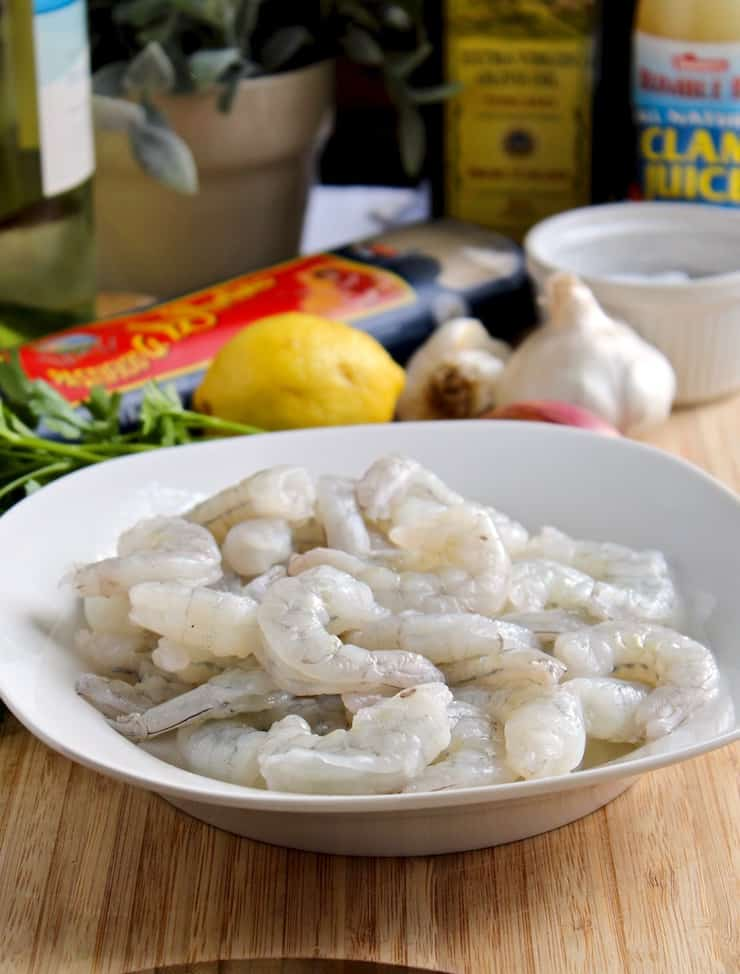 Shrimp Scampi, raw shrimp surrounded by ingredients
