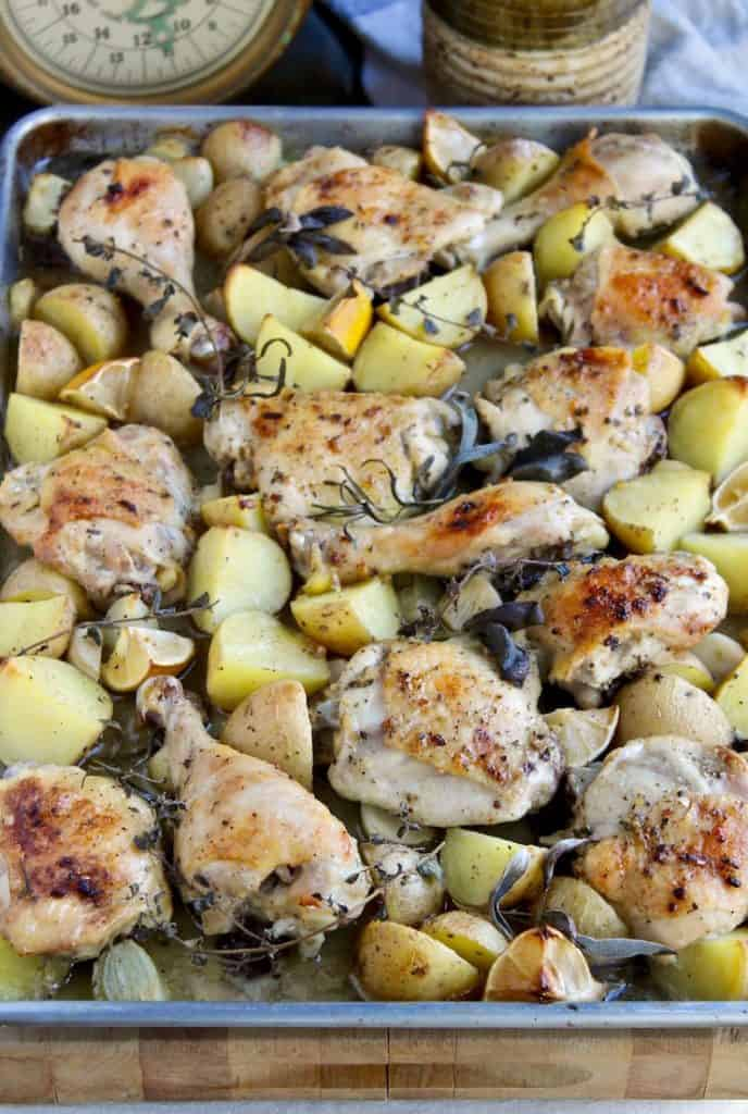 Sheet Pan Chicken, Potatoes and Herbs