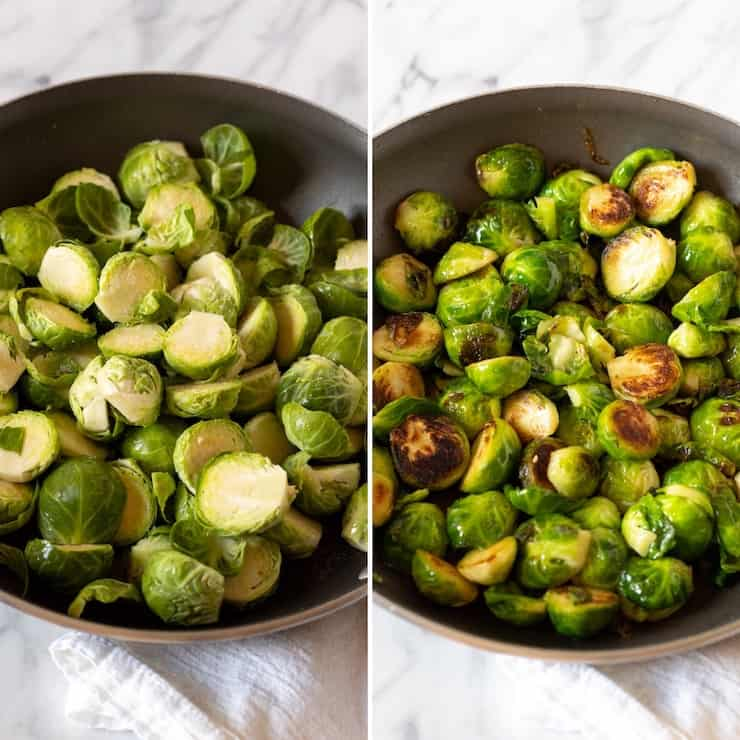 Process photo collage, sautéing sprouts.