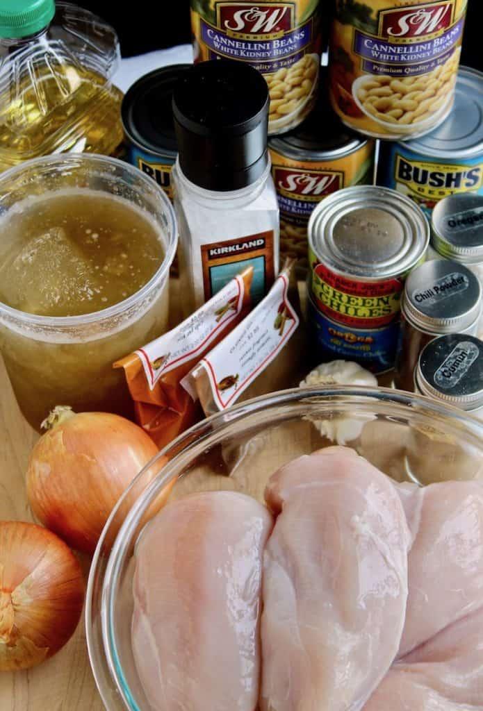 White chicken chili ingredients photo.