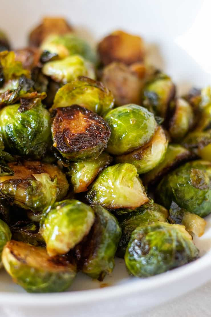 Caramelized Brussels in serving bowl.