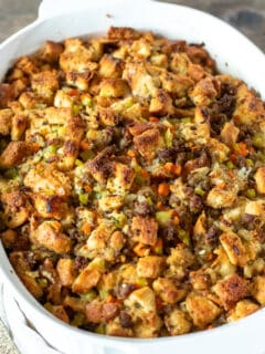 Old fashioned sausage stuffing in casserole dish.
