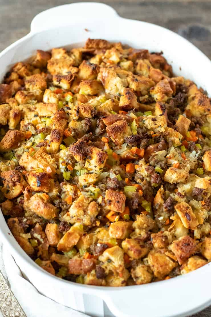 Old fashioned bread stuffing in casserole dish.