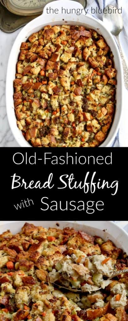 Bread stuffing with sausage long pin for Pinterest