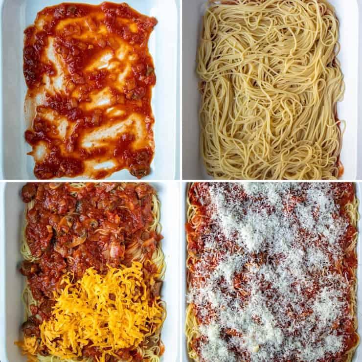 Process photo collage of assembling pasta bake.