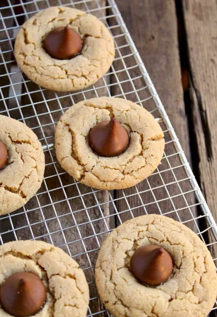 Chocolate Kiss Peanut Butter Cookies, close up on cooling rack.