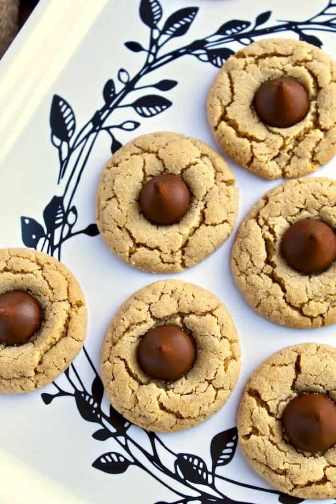 Chocolate Kiss Peanut Butter Cookies, on holiday serving platter.