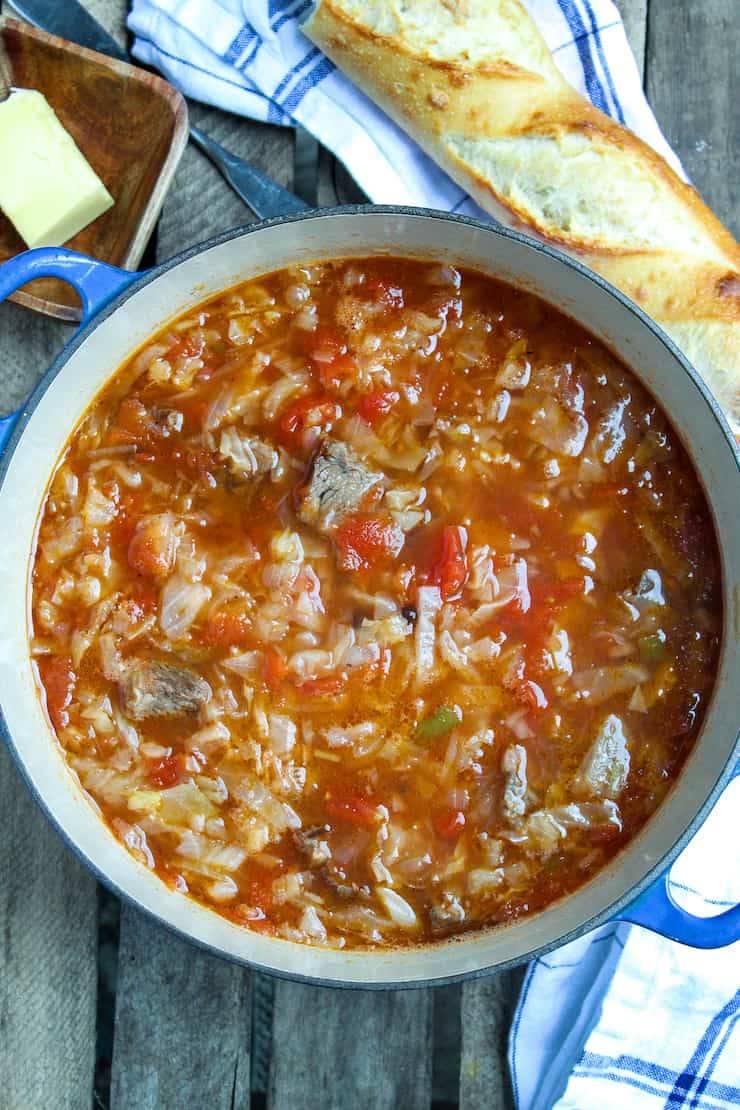 Pot of beef cabbge soup
