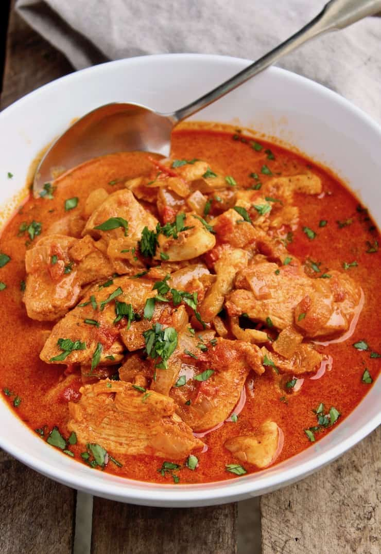 Chicken Paprikash, in serving bowl