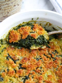 Spoonful of Spinach Rockefeller coming out of casserole.