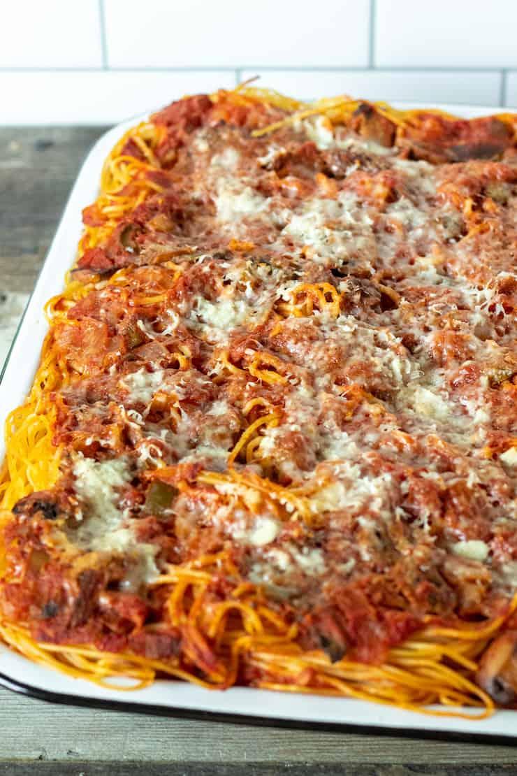 Pan of Granddads' baked spaghetti.