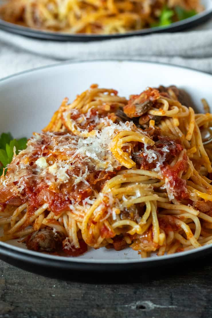 Close up of plated Italian baked spaghetti sprinkled with cheese.