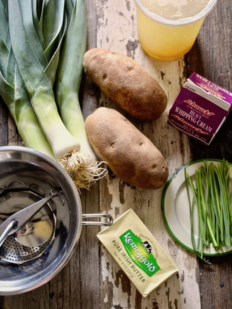 Potato Leek Soup, ingredients and food mill on board