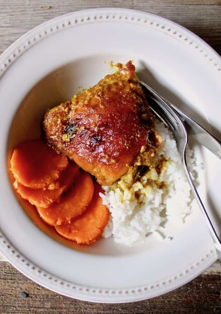 No Work Chicken, baked thigh in bowl with white rice and sweet potatoes