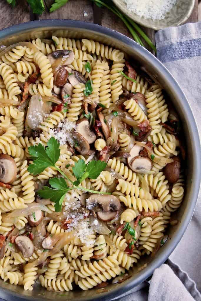 Pasta with Bacon, Onions and Mushrooms, in skillet