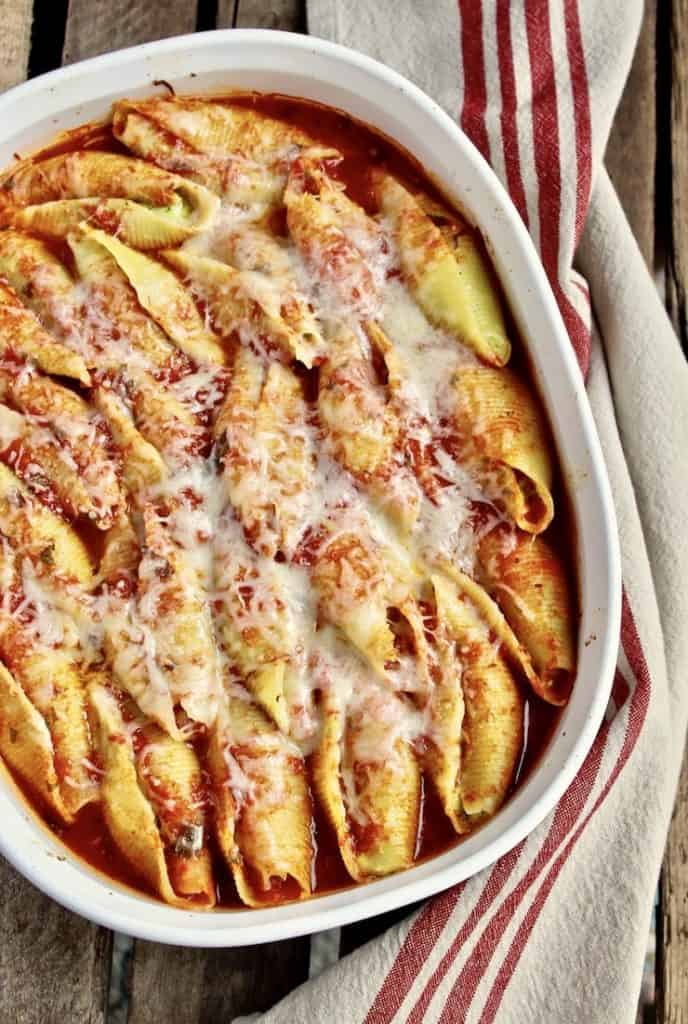 Pesto Cheese Stuffed Shells in Marinara Sauce