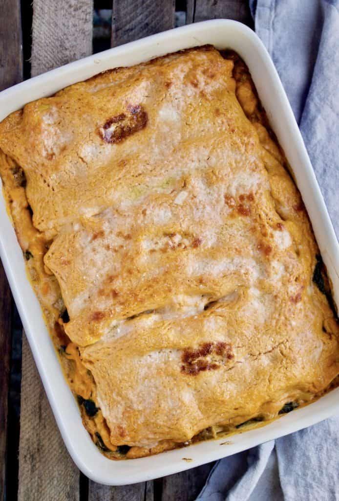 Pumpkin lasagna in baking dish.