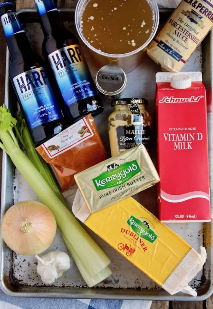 Irish Beer Cheese Soup, photo of ingredients on a sheet pan.