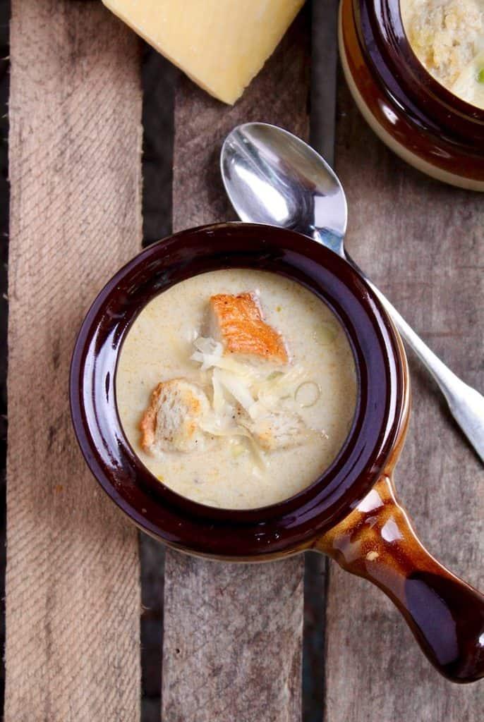 Irish Beer Cheese Soup, in serving bowl/crock.
