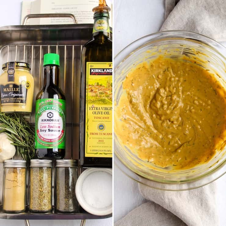 Ingredients and mustard herb sauce.