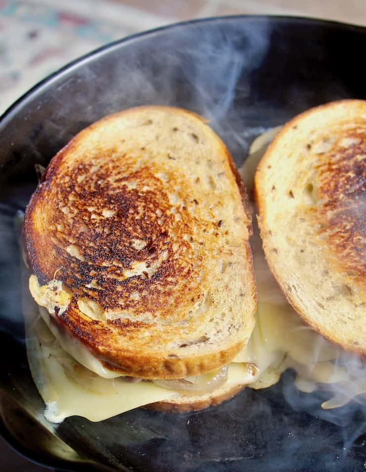 Diner-Style Patty Melts, grilling in skillet