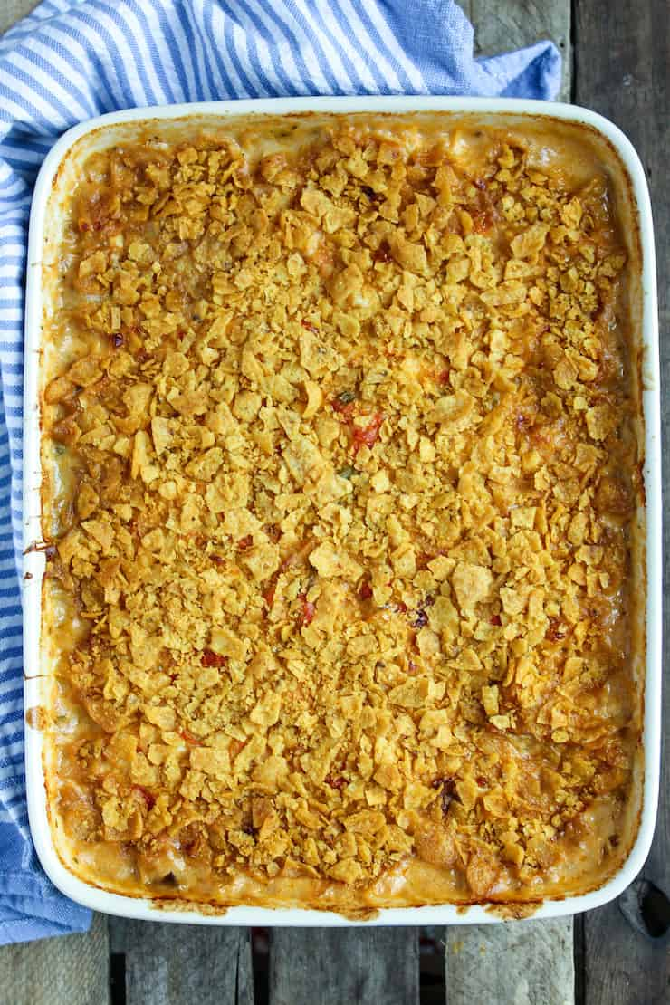 Casserole baked in dish.