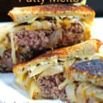 Diner-style patty melts, pin for Pinterest with text and description.
