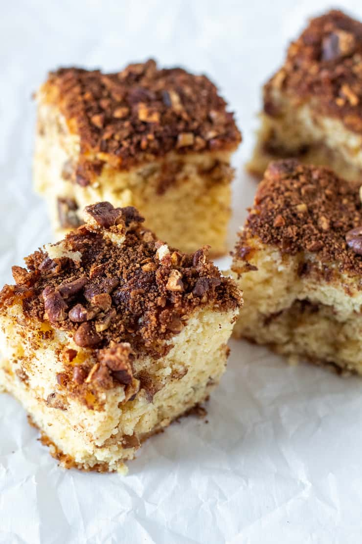 Overhead of slices of coffee cake.
