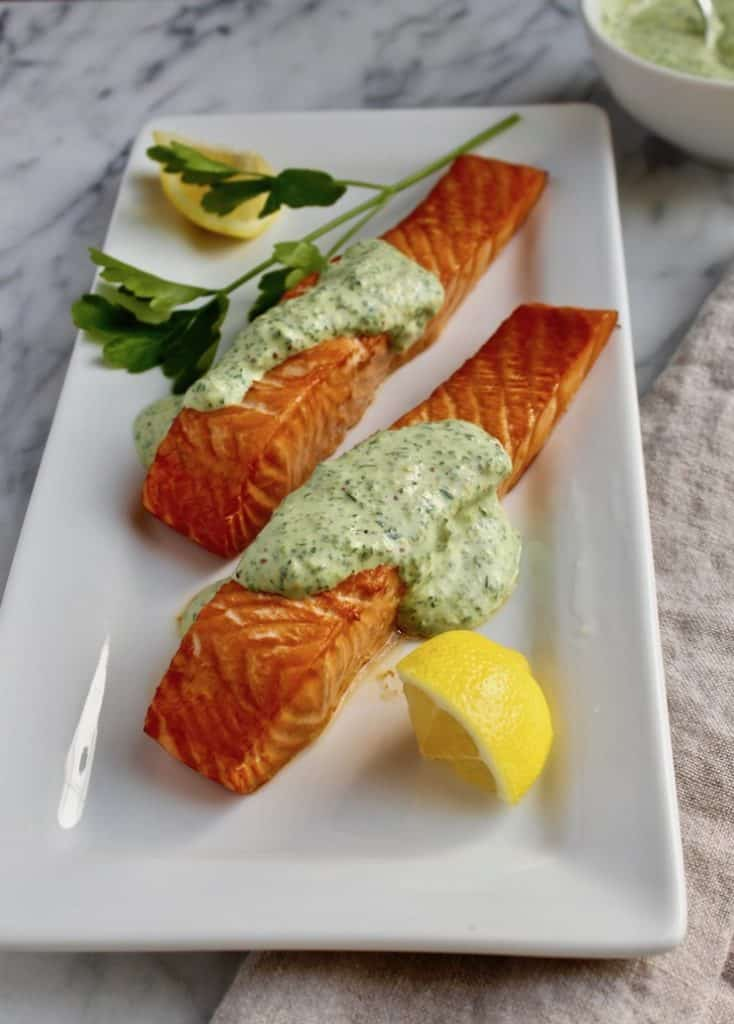 Roasted Salmon with 'Greens' Mustard Sauce