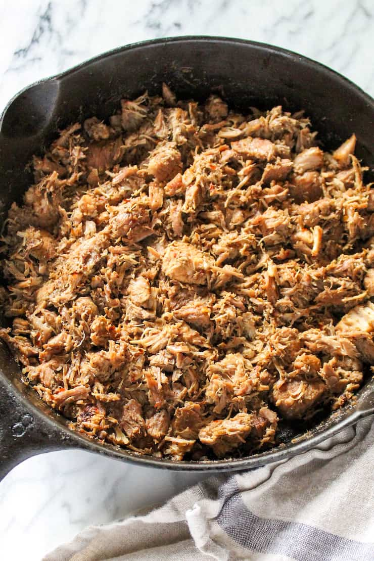 Pork browning in skillet.