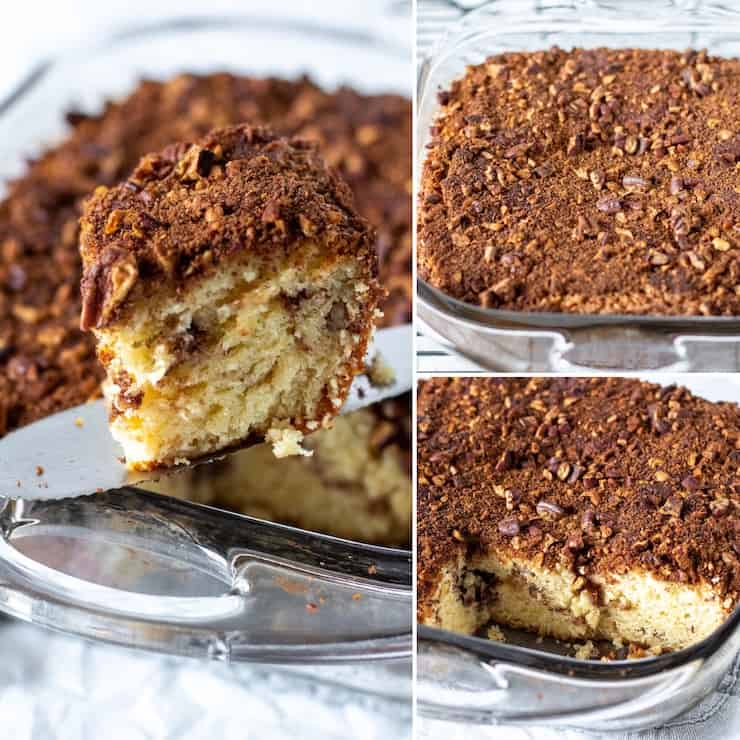 Three photo collage, various views of coffee cake in baking dish.