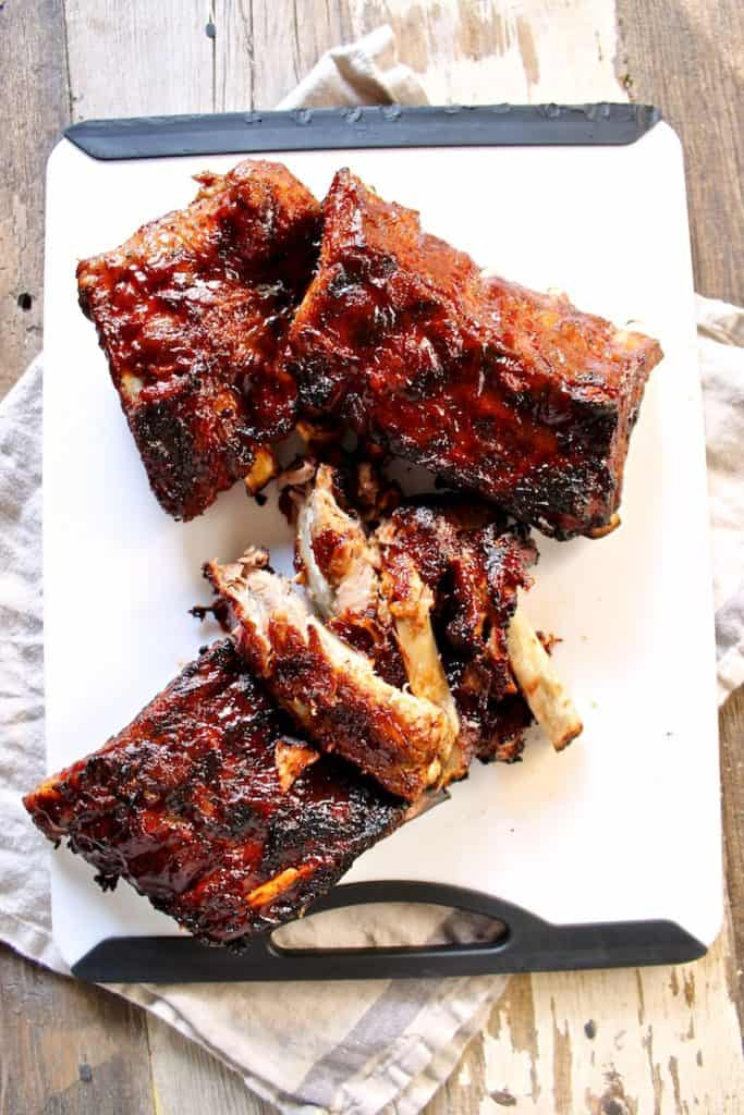 Instant Pot Barbecue Ribs on a cutting board