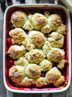 Baked cobbler in baking dish.