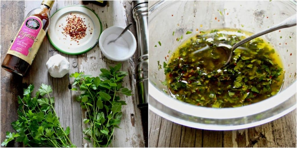 Chimichurri Sauce ingredients 2 photo collage, in mixing bowl