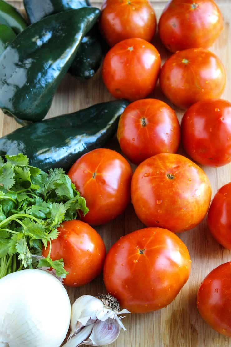 Farm fresh ingredients for salsa.