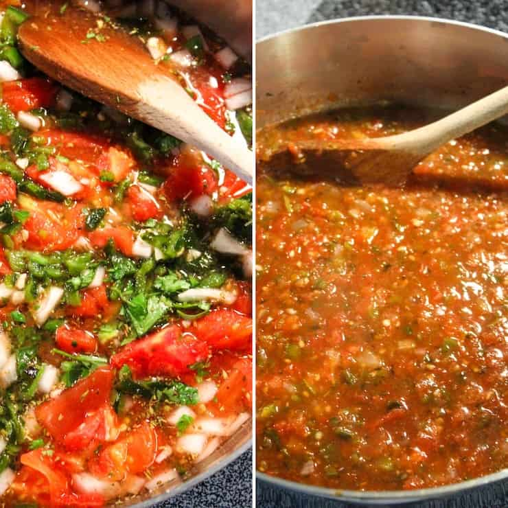 Cooking and blending salsa.