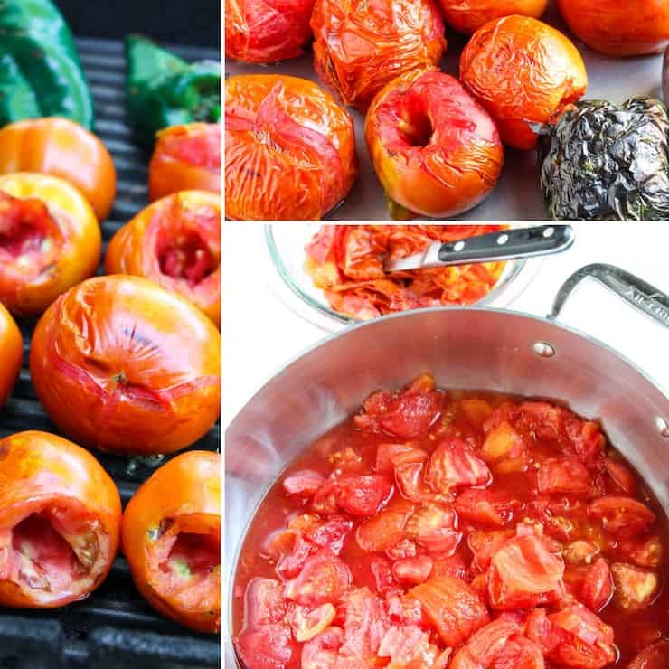 Process collage of roasting tomatoes and peppers.