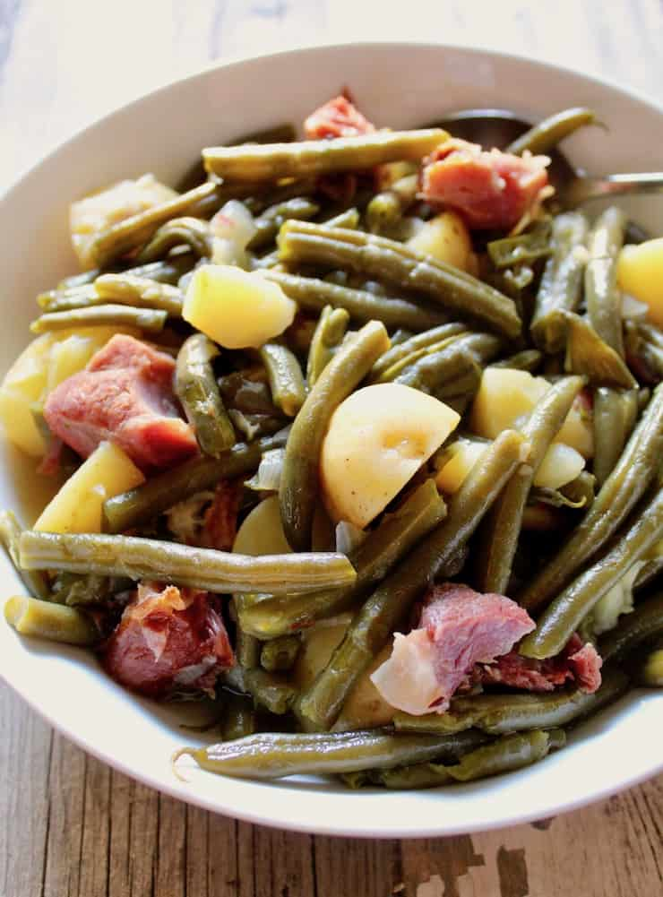 Country Style Green Beans, Potatoes and Ham in the Instant Pot in a serving bowl