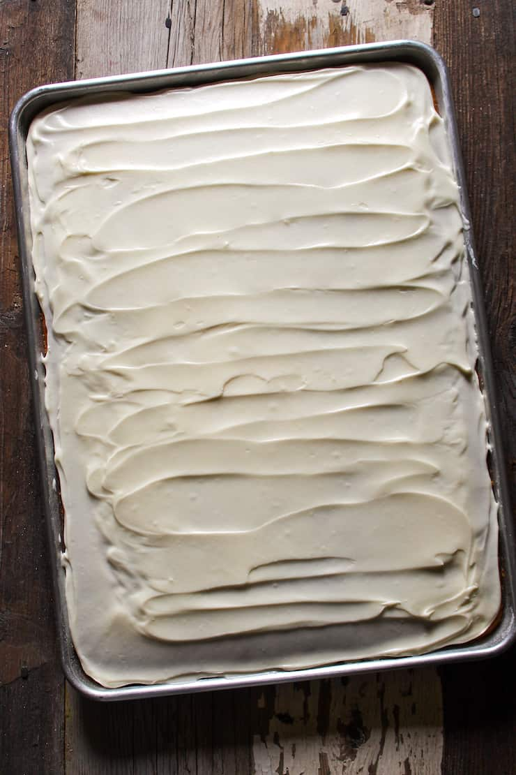 Pumpkin sheet cake with cream cheese frosting.