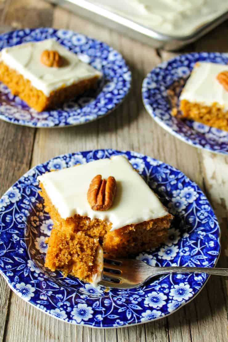 Pumpkin bar on plate with fork.