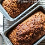 Pin for Pinterest, two loaves in pans on cooling racks, with text.