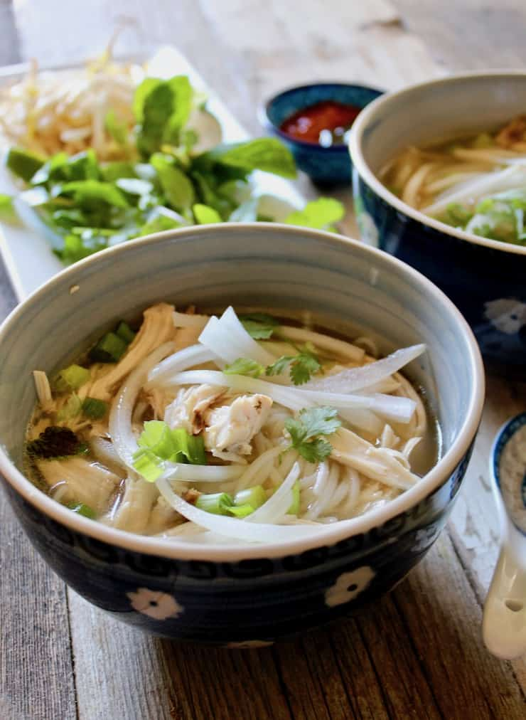 Instant Pot Pho Ga, in serving bowl