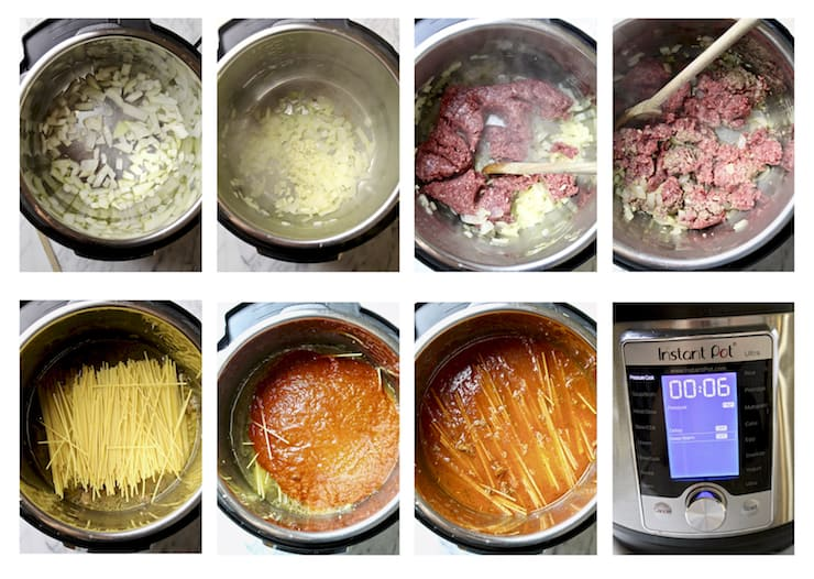 Instant Pot Spaghetti with Meat Sauce, step by step photo collage in Instant Pot