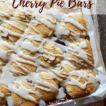 Cherry pie bars pin for Pinterest with text.
