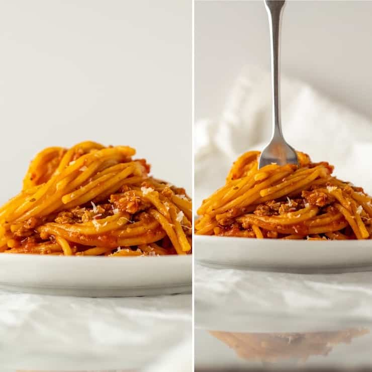 Two photo collage of spaghetti twirled on plate, with fork